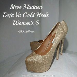 ❗2/$20❗ Steve Madden Deja Vu Gold Glitter Heels